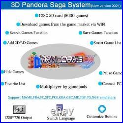 3D WIFI Pandora's Saga EX Box 8000 in 1 Joysticks Retro Arcade Game Console