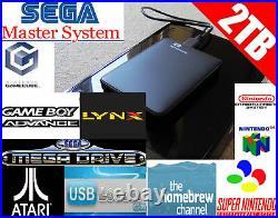 Black Nintendo Wii Console 2TB Hard Drive GameCube Retro Emulators Game 32GB SD