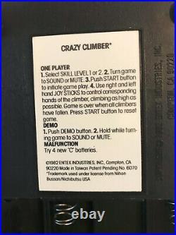 Entex CRAZY CLIMBER retro LSI Game- retro VFD electronic game, working, read