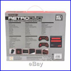 NES SNES Retro-Bit Retro Duo Twin Video Game System, Red/Black v3.0 NEW
