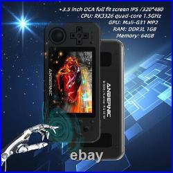 RG351M Video Game Console Retro Handheld Pocket 2000 Games Player (Black)